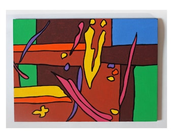 """Joyful Abstract No. 2 Bright acrylic painting on 5 x 7"""" panel by PiCassieO"""