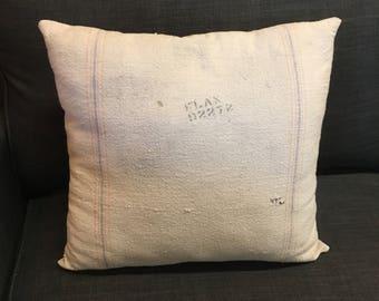 vintage feed grain sack pillow