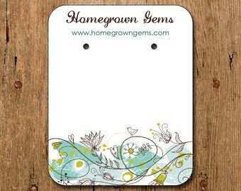 Personalized Earring Cards Modern Blue Bird Flower Florals 00097a