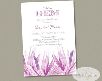 Amethyst Crystals Invitation | ANY OCCASION | Gemstones, Geodes, Crystal Points, Rocks, Druzy, Instant Download | Editable Text PDF