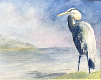 Blue Heron original watercolor