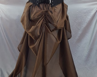 Brown Bronze Gold Organza Super Long Length Tie Bustle Skirt-One Size Fits All
