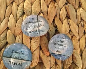 Blue Wood Grain Glass Cabochon Set of 3 Teacher/Mom Magnets