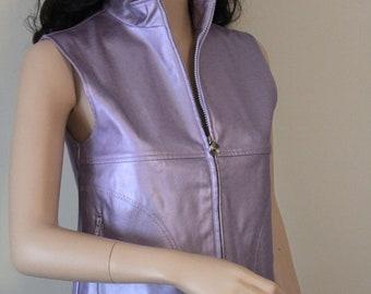 Metallic Vest by Emergency Exit, Vintage 1980's-1990's Polyvinyl Pleather Lavender Vest, Metallic Lavender Front Zipper, Side Pockets, Vest