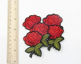 Customed Rose Patch, Little Rose Embroidered Applique Iron on Patch ,Fabric Embroidered Applique Iron On Patch