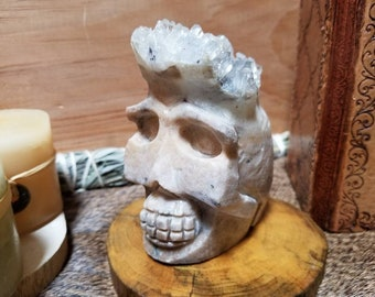 1.12lb Clear Quartz Crystal Cluster Skull Carving, 507g