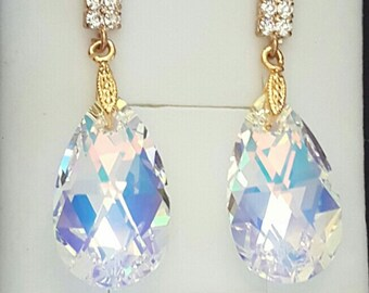 Crystal from Swarovski 22mm Aurora Borealis (AB) pear shaped Earrings, Rhinestone 925 Sterling Silver Earring Post, Wedding Jewelry