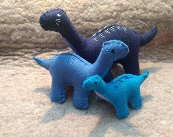 CUSTOM BRONTOSAURUS SET A:  wool dinosaur toys