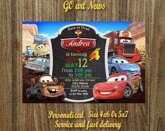 Cars Disney Invitation,Cars Disney Birthday Invitation,Cars Disney Party,Cars Disney Printable,Personalized