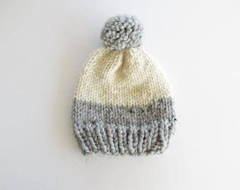 Color Block Knit Hat With Pom Pom / Chunk Knit Hat