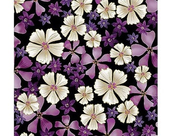 Enchanted~Full Bloom On Black, By Benartex /Kanvas - Cotton Fabric