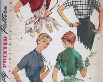1950s Simplicity 1549 Misses' Set of Boleros Sewing Pattern CUT
