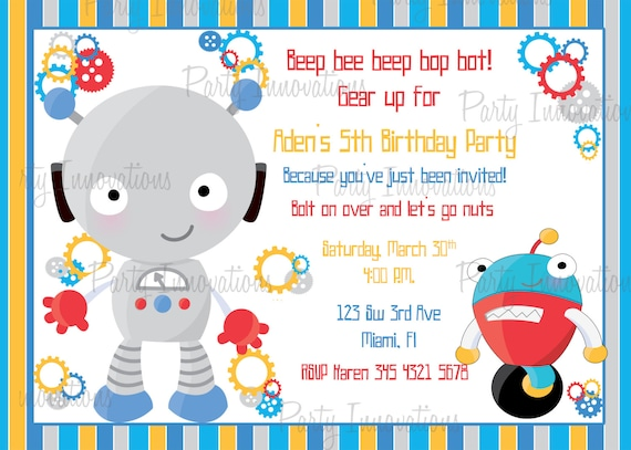 Items similar to printable boy robot birthday party invitation plus items similar to printable boy robot birthday party invitation plus free blank matching printable thank you card on etsy filmwisefo Images