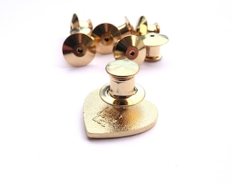 10 x deluxe golden locking pin backs for enamel pins, lapel pins, pin backs, safety backing, pinback,