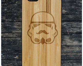 A118 Storm trooper Starwars Laser engraved Wood case with rubber coated plastic for iPhone 6 6s 6 plus 6s plus 7 7 plus 8 8 plus x