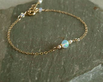 Opal Bracelet, fire opal, freshwater pearls, gold chain, October birthstone, round natural Ethiopian opal, quality opal, dainty opal jewelry