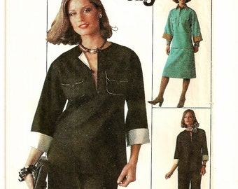 """A Separates Pattern for Women: Elastic Waist A-Line Skirt, Straight Leg Pants & 3/4 Sleeve Tunic Top - Size 8 Bust 31-1/2"""" • Simplicity 7656"""