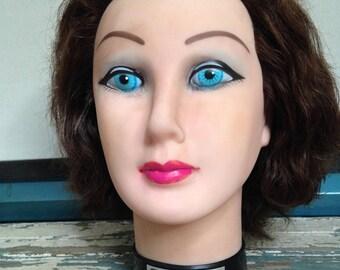 Plastic Mannequin Head, Debra Manikin, D804 by Burmax, Auburn Hair, Blue Eyes, Red Rose Lips