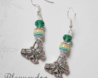 Boucles d'oreilles papillons origamis et perles arc en ciel