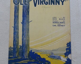 Ole Virginny Vintage sheet music 1919 sheet music Collectible sheet music Cover art