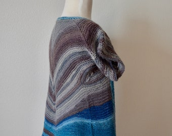 ABQ Short Sleeve Bolero Jacket, Hand Knit Lightweight Spring Sweater in Soft Wool & Nylon Blend, In Shades of Subtle Striping Blue and Grey