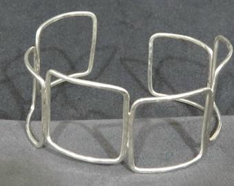Unique Sterling Silver Cuff Bracelet of Squares