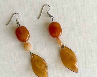 Amber Beaded Dangles - Artisan Crafted Drop Earrings