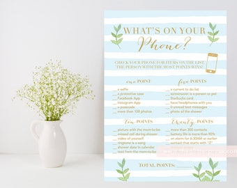 What's on your phone? Blue stripe printable baby boy shower game, blue and gold, leafy green, phone shower game, INSTANT DOWNLOAD 012
