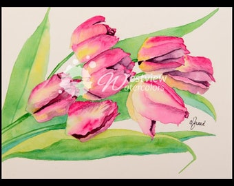 Cascading Tulips: 9x12 print of an original watercolor painting
