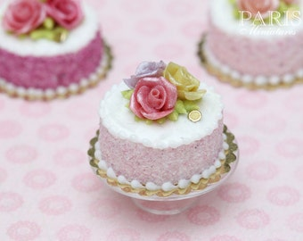 MTO-Trio of Roses Cake (Pink, Yellow, Mauve) - Tiny Miniature Food in 12th Scale for Dollhouse