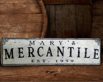Personalized Old Mercantile Wood Sign - Handmade Rustic Wooden Decor