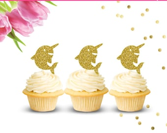 Narwhal Cupcake Toppers (Set of 12)
