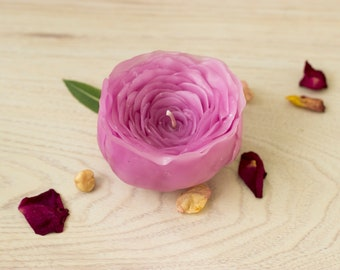 ROSE CANDLE, Handmade, Pink, Scented candle, Romantic gift for her, Unique, Candle decoration