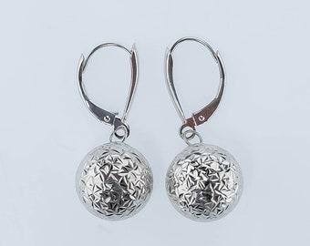 14K White Gold 12.5mm Sphere Round Ball Dangle/Drop Lever-back Pierced Earrings
