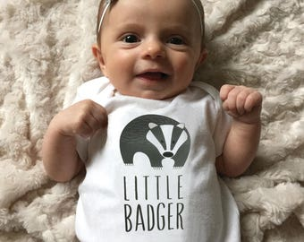 Badger baby clothes, baby bodysuit for baby boy or baby girl, baby shower gift