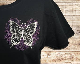Butterfly - roses - monarch butterfly - embroidered shirt