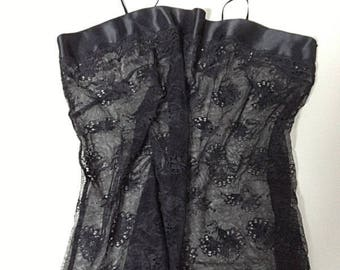 French Vintage Black Lace Bustier- Size 4 / 6 US