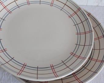 2 big thick porcelain, Vintage Bistro plates.