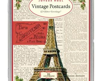 Joyeux Noel Vintage Paris Glitter Greetings Eiffel Tower Carte Postale postcard set Christmas Winter Holiday set number 2