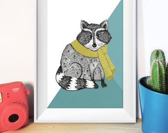 A3 Raccoon Print, Illustrated Raccoon drawing, Animal Illustration, unframed art print