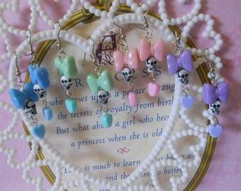 Skull earrings with bows and hearts creepy lolita pastel goth