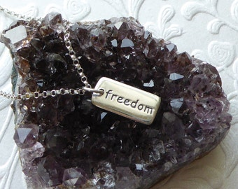 Freedom Necklace ~ Sterling Silver ~ Word Charm Pendant