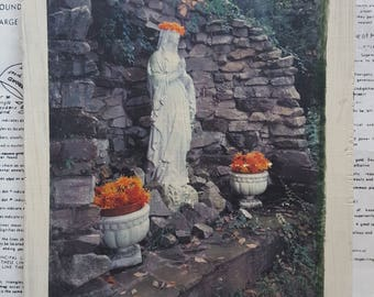 Original, Art, Miniature, 6 x 8, Mixed Media, Virgin Mary, Grotto, Praying, Statue, Fall