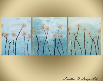 Green Blue Triptych Canvas Art Painting Modern Abstract Contemporary Daisy Flowers Made To Order by Heather R. Lange