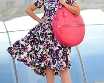 Women bag, Handmade Genuine Leather Pink Tote Circle Shoulder Bag for Womens, Pink Tote Bag, Leather Tote Bag, Circle Bag - BA0840LD