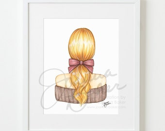 The Perfect Pony Fashion Illustration Art Print / Fashion Sketch Art, Fashion Art Print, Fashion Wall Art, Ponytail, Beauty, Hair