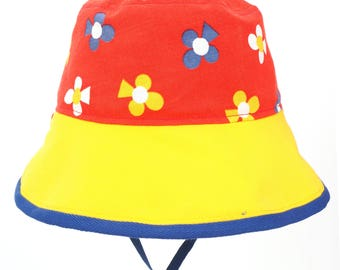 Retro, vintage fabric sunhat, flower bucket hat for boy and girl, sunhat for baby, toddler and child
