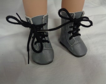Gray and Black  Doll  Boots for 14 Inch Dolls- Fits Wellie Wishers -Les Cheries and Hearts 4 Hearts Dolls