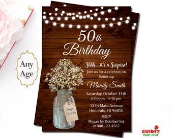 50th Birthday Invitation for Women, Rustic Birthday Invitations, Surprise Birthday Invitation Mason Jar Floral, A47