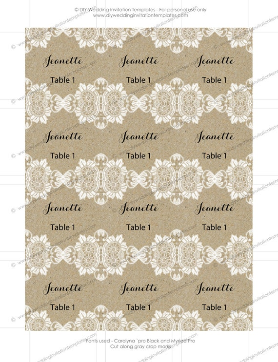 Rustic Name Tags Template Small Antique Lace Kraft - Small name tag template